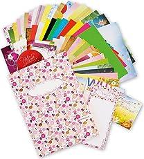 Buntes Motiv-Set (75-tlg.) - Kollektionsmappe mit 18 x 2 Briefpapier Motive DIN A4 210 x 297 mm, je 1 Umschlag, weitere 21 Teile, Briefpapiersammlung gemischt - Geschenkidee Kinder Frauen Mädchen