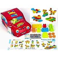 FRATELLI® Building Blocks for Kids - Certified European Saftey Standards (100 PCS Big Building Blocks in CAR Shape Bag)