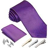 Rovtop Cravatta Uomo, 4 Stili, con 1 Fazzoletto, 2 Gemelli, 3 Fermacravatta, Regalo per Il Fidanzato, Scelta Migliore per Il
