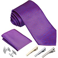 Rovtop Cravatta Uomo, 4 Stili, con 1 Fazzoletto, 2 Gemelli, 3 Fermacravatta, Regalo per Il Fidanzato, Scelta Migliore…