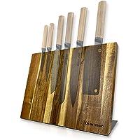 QUINTESSIO Bloc couteaux magnétique sans couteaux - Porte-couteaux magnétique en bois - Planche à couteaux XL avec…
