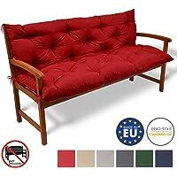 Beautissu Bench Pad Flair BR Comfortable Cushion 100 x 50 x 50 cm 2 Seater Garden Bench Cushion & Backrest Red