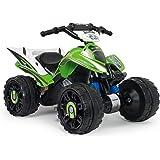 INJUSA – Quad Kawasaki ATV de 12V Licenciado con Marcha Atrás y Freno Eléctrico Recomendado a niños +2 Años