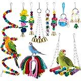 faddy-1 10 Pièces Jouets pour Oiseaux - Jouets d'escalade Couleur, Balançoires, Échelles, Perchoirs, Cloches - pour Birdie, P