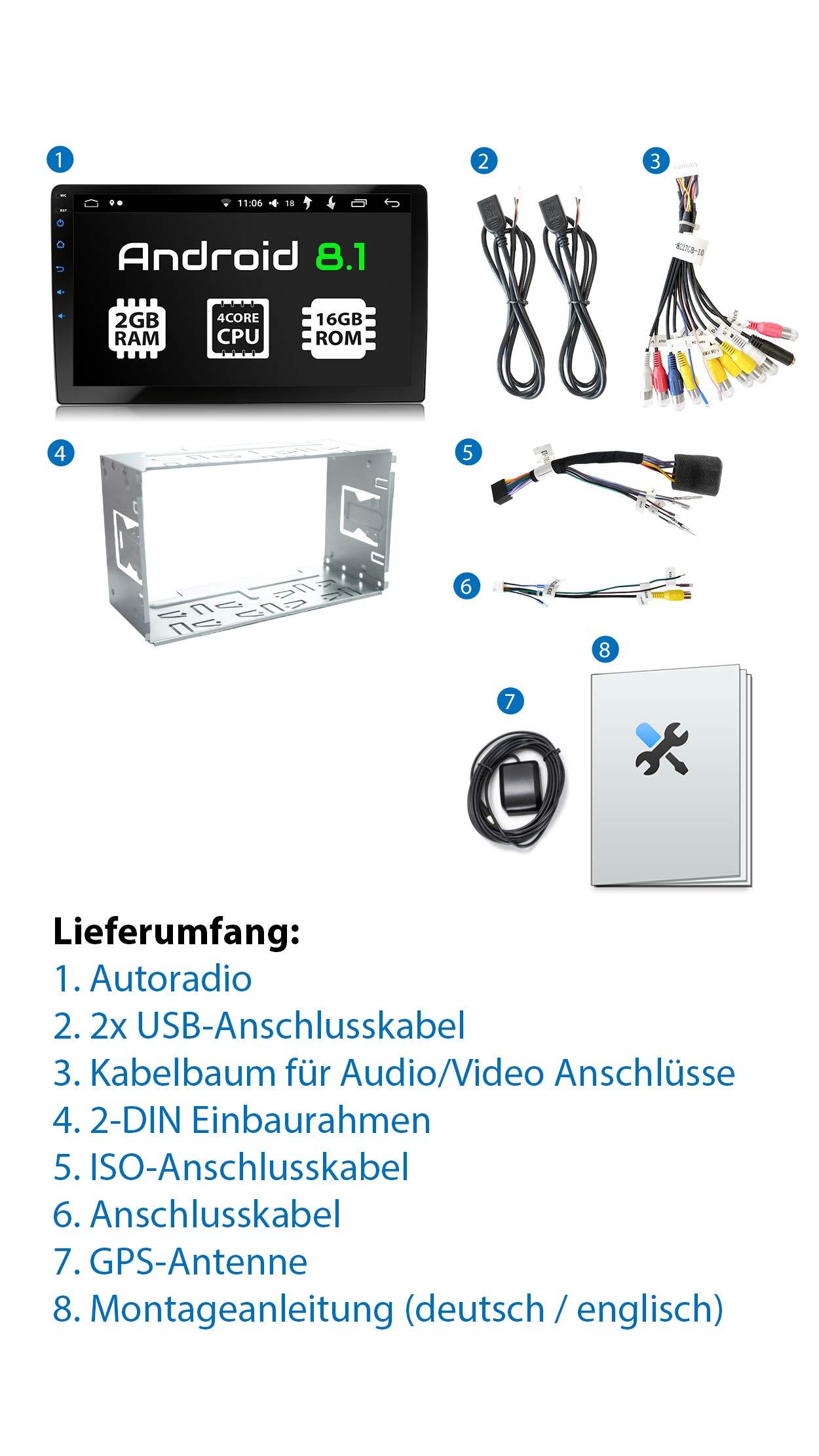 XOMAX-XM-2VA901-Autoradio-mit-Android-81-4Core-2GB-RAM-16GB-ROM-GPS-Navigation-I-Support-WiFi-WLAN-3G-4G-DAB-OBD2-I-Bluetooth-9-Zoll-229cm-XXL-Touchscreen-2X-USB-2-DIN