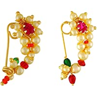 Vail Creations Traditional Maharashtrian Nose ring without piercing Pearl Gold Plated Nath Clip On Nose Ring For Women…