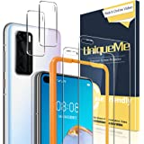 UniqueMe [2 Pack] Protector de Pantalla Compatible con Huawei P40 [2 Pack] Protector de Lente de cámara, Vidrio Templado [9H