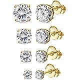YADOCA 4-5 Coppie Argento Oro Orecchini da Donna Ragazze Set Brillante Orecchino Argento 925 con Zirconi Cubici Orecchini a B