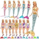 Miunana 16 Accessori per 11.5 Pollici 28 - 30 CM Bambola: 4 Abiti Vestiti da Sirena + 4 Costumi da Bagno + 3 PCS Ciabatte + 5
