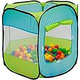 LittleTom Bällebad Spielzelt 100x100x72 cm Popup Baby Spielhaus Kinder-Zelt Blau