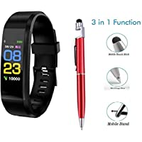 HUG PUPPY I D 115 Plus Bluetooth Fitness Band Smart Watch Tracker with Heart Rate Sensor Activity Tracker Waterproof Body Functions Like Steps and Calorie Counter, Blood Pressure, OLED Touchscreen