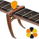 Capodastre Guitare avec 6 Médiators, KQJ Capo Guitare en Grain de Bois pour Guitare Acoustique et Électrique, Basse, Ukulélé,