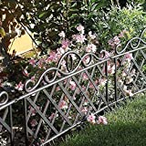 Garden Mile® Pack Of 12 Decorative Victorian Style Garden Fencing Panels Garden Lawn Edging Black Picket Fence, Wrought Iron Effect Garden Border Fencing Panels Edging For Lawns,Borders,Flower Beds And Stones. 45cm x 35cm Each Panel. (12, Black)
