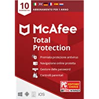 McAfee Total Protection 2021, 10 Dispositivi, 1 Anno, Software Antivirus, Gestore delle Password, Sicurezza Mobile…