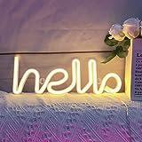 Néon, LED Hello Neon Word Sign Neon Letters Light Art Lumières décoratives, enseignes de chapiteau / décoration murale pour N