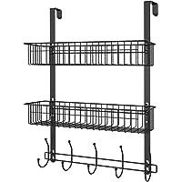 LUCYCAZ Over Door Storage Rack - Black Over The Door Hook with Deep Baskets for Bedrooms Bathroom and Kitchen, Used to…