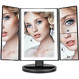 Make-up Spiegel, WEILY Tri fold Make-up Spiegel met 2x/3x Vergroting, 36 LED-verlichting Tafelblad Cosmetische Make-up Spiege