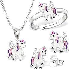 Kleine Einhorn Set Ring Anhänger Kette Ohrstecker 925 Echt Silber Kinder Mädchen Pegasus Pferd