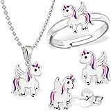 GH*, set con piccolo unicorno composto da anello, ciondolo, collana di 40 cm e orecchini in argento Sterling 925, per bambine