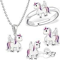 GH*, set con piccolo unicorno composto da anello, ciondolo, collana di 40 cm e orecchini in argento Sterling 925, per…