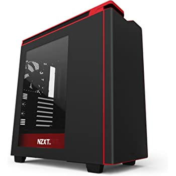 NZXT H440 Mid TowerComputer Case, Matt Black/Red /w Window (CA-H442W-M1)