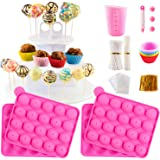 Cake Pop Maker Silicone Set with 3 Tier Cake Pop Stand, Paper Lollipop Sticks, Chocolate Candy Melts Pot, Silicone Cupcake Mo