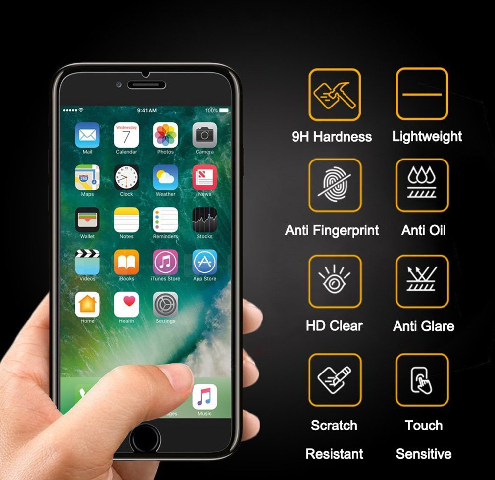 Alta Definicion Anti-Ara/ñazos - Garant/ía de por Vida 3-Unidades Cristal Templado para iPhone 7 // iPhone 8 Flysee Protector Pantalla para iPhone 7 // iPhone 8, 9H Dureza Sin Burbujas