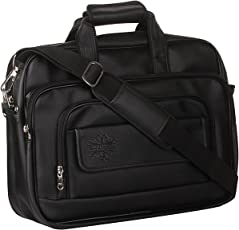 "Style Homez Spacious Classic Retro Laptop Bag 15.6"", Adjustable Strap and 6 Compartments,Metal Black Color"
