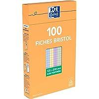 Oxford 100104817 Etui de 100 Fiches Bristol colorées petits carreaux non perforées 12,5 x 20 cm Assortis Blanc/Bleu…