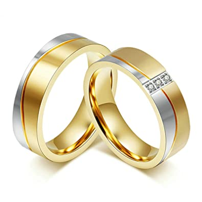 Aooaz 1 Pair Valentines couples rings In Love Rings Gold Plated