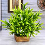 Fancy Mart Artificial Bamboo in Wood Comb Pot (30 cm, Green)