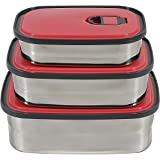 Homesoul Lunch Box Set of Three Stainless Steel Rectangular Lunch Box Set - 8903 (Pink)