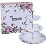 London Boutique Présentoir à gâteaux à 2 étages en Porcelaine Motif Oiseau, Rose et Papillon dans Une boîte Cadeau Bleu