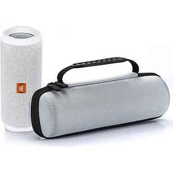 Custodia da Rigida da viaggio Trasportare per JBL Flip 4 / JBL Flip 3 Senza fili Bluetooth Speaker, Adatto a Cavo USB e Caricatore da muro-Argento