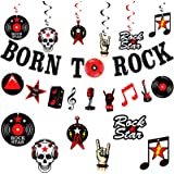 26 Piezas Pancarta Brillante de Born To Rock Banner de Elementos Musicales Rock Remolinos Espirales Colgantes de Rock And Rol