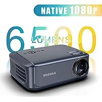 Beamer 6500 Lumen, Native 1080p Beamer Full HD,Video Projektoren für Office Powerpoint Präsentationen Heimkino,Unterstützt mit PS4 Xbox, Wii, HDMI, VGA, SD-Karten, AV- und USB-Geräten