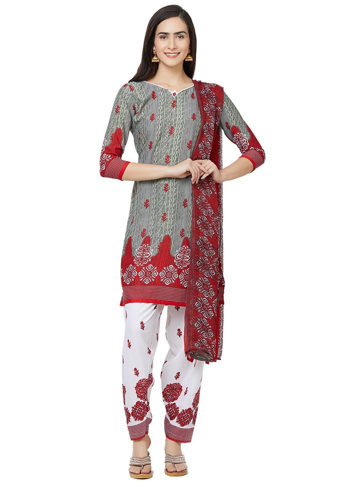 Kanchnar Women's Grey CrepePrinted DressMaterial