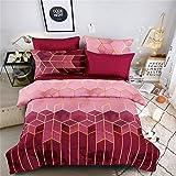 Sets de Housse de Couette 200x200 cm,Parure de lit avec housse de couette en microfibre, Parure de Lit avec Fermeture Éclair