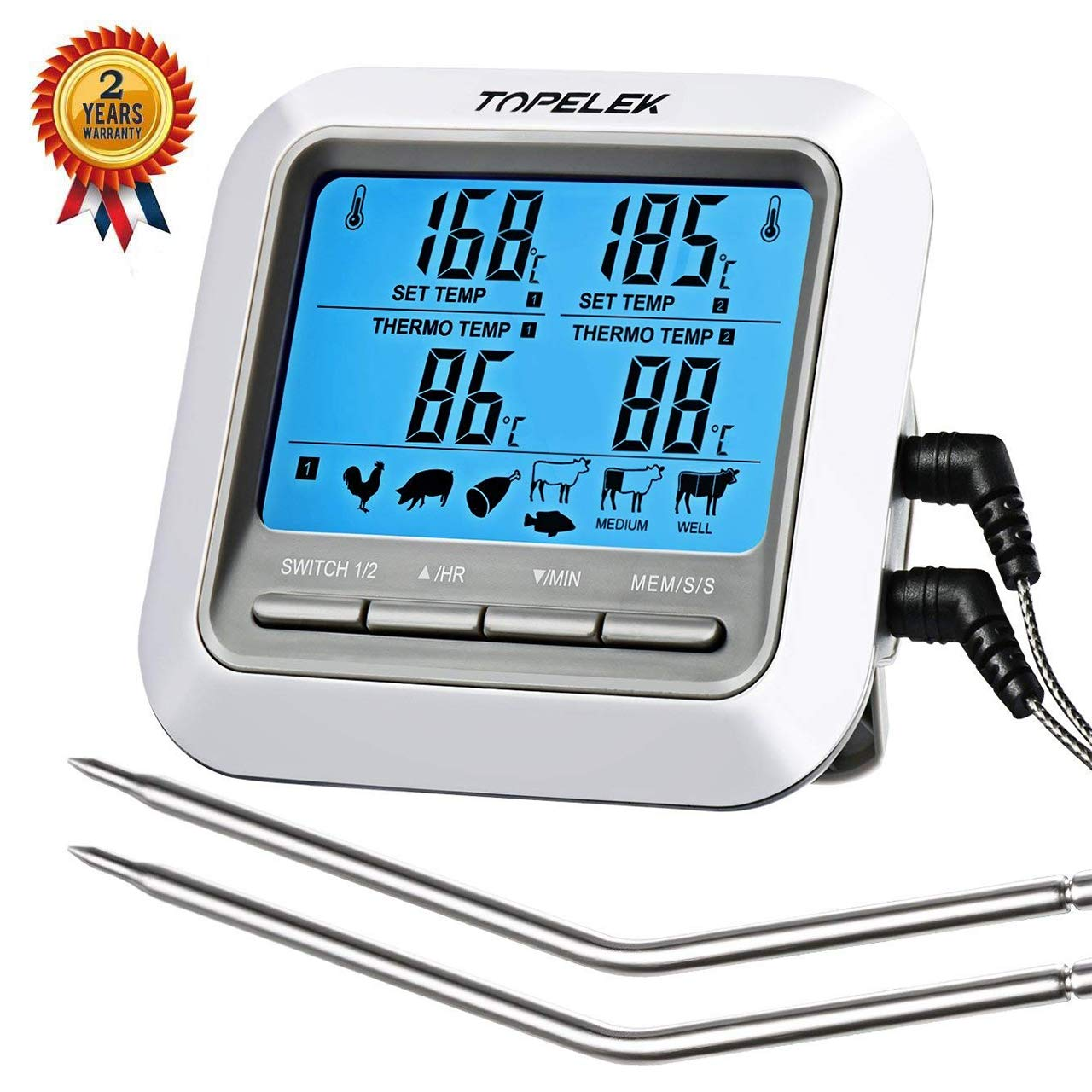 Digital Thermometer Edelstahl Haushalt BBQ Fleisch essen kochen Küche Therm BF#