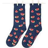Roits Calcetines Sandías Azul Hombre 41-46 - Calcetines Divertidos de Dibujos Originales Estampados
