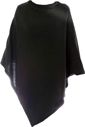 Fantasie Terrene Poncho Cashmere Donna, Fatto a Maglia in Filato Misto Cashmere di Alta qualità. Made in Italy. Colore Nero