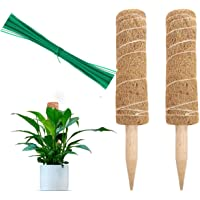 2 pcs 16 inches extendable to 26.5 inches moss pole with 20 garden twist ties coco coir stick for cheese plants money plant climbing support stake indoor outdoor swiss cheese monstera deliciosa 40 cm