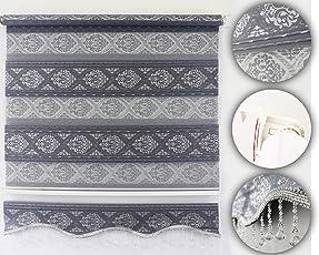 Brillant Gardinen Duorollo Klemmfix Fenster Tür Rollo Ohne Bohren Newly Grau-Silber Glitzer