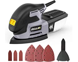 Jellas Levigatrice 13000 RPM, Levigatrice Mouse Multifunzioni 220W con Scatola Raccolta di Polvere, Tampone Levigatrice a Dit