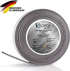 Reorda Magnetband - Selbstklebender Magnetstreifen mit maximaler Magnetstärke - Magnetleiste mit vielseitigen Einsatzmöglichkeiten - individuell zuschneidbar I Magnetklebeband I Magnetwand I Tape