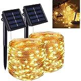 Qxmcov Guirlande Lumineuse Exterieur Solaire, [Lot de 2] 12M 120 LED Guirlande Lumineuse Solaire, 8 Modes Étanche Fil de Cuiv