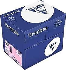 Clairefontaine 1973C Trophee buntes Druckerpapier (5 x 500 Blatt, DIN A4, 21 x 29,7 cm, 80 g, für besonders farbenfrohe Ausdrucke, 5er Pack) rosa