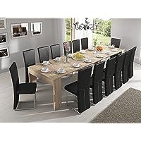 Skraut Home - Table Console Extensible avec rallonges, jusqu'à 300 cm, Salle à Manger et séjour, Couleur chêne Clair…