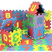 Jaynil Enterprise® Kids 36 Pieces Interlocking Learning Puzzle Foam Mat Tiles with Alphabets and Numbers for Kids