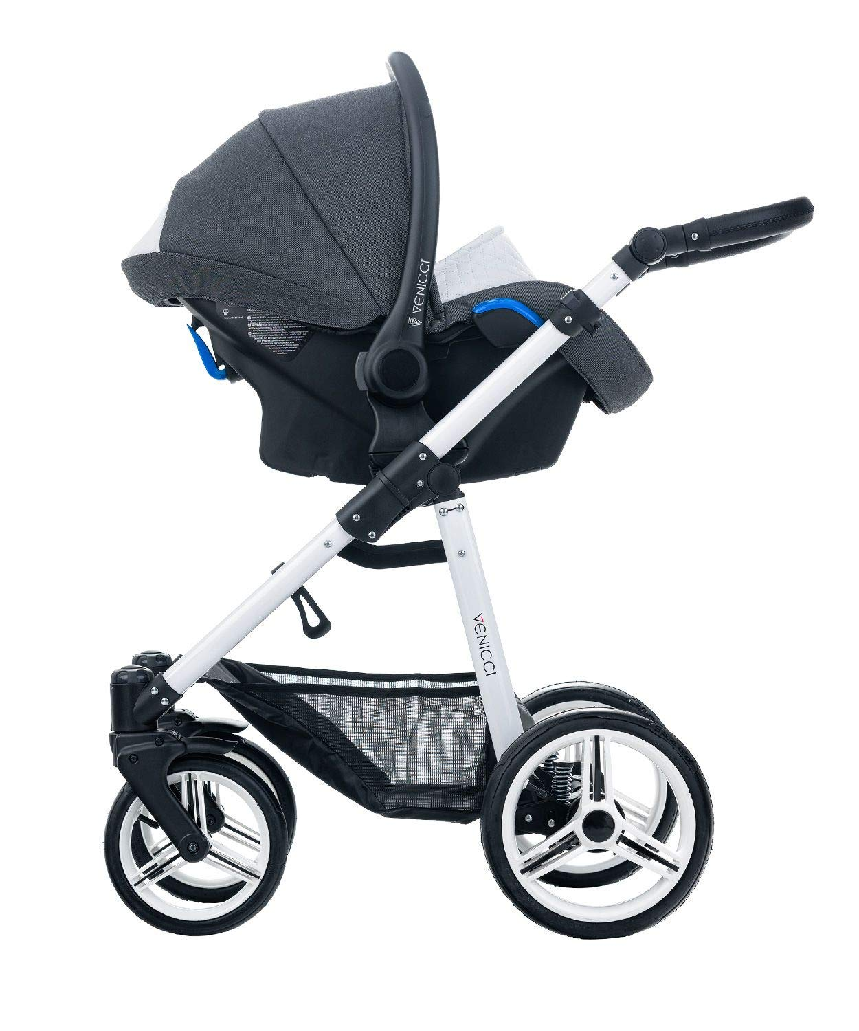 Venicci Pure 3-in-1 Travel System - Denim Black - with Carrycot + Car Seat + Changing Bag + Apron + Raincover + Mosquito Net + 5-Point Harness and UV 50+ Fabric + Car Seat Adapters + Cup Holder  3 in 1 Travel System with included Group 0+ Car Seat Suitable for your baby from birth until 36 months 5-point harness to enhance the safety of your child 4